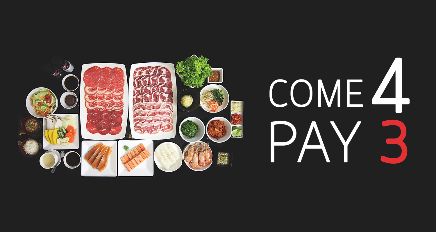 """ Come 4 Pay 3 "" and Buffet Promo"